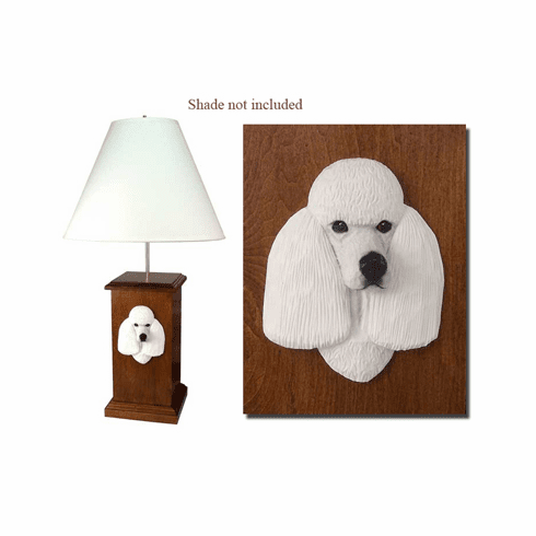 Poodle Wood Carved Table Lamp