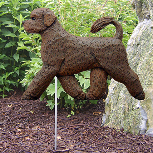 Portuguese Water Dog Garden Stake-Brown