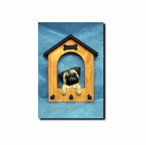 Pug Dog House Leash Holder