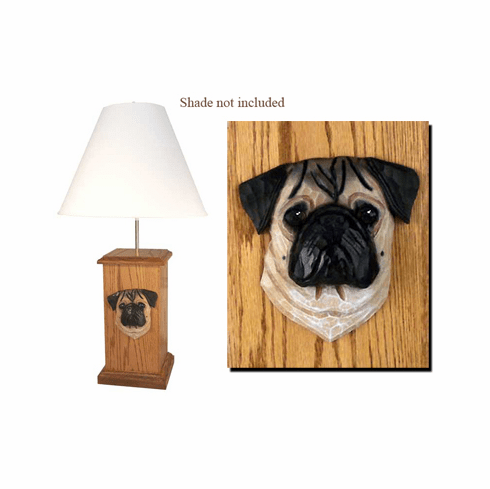 Pug Wood Carved Table Lamp