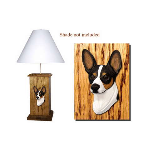 Rat Terrier Wood Carved Table Lamp