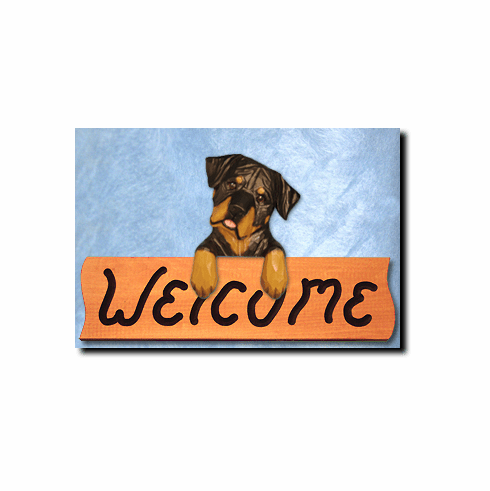 Rottweiler Silly Pose Welcome Sign