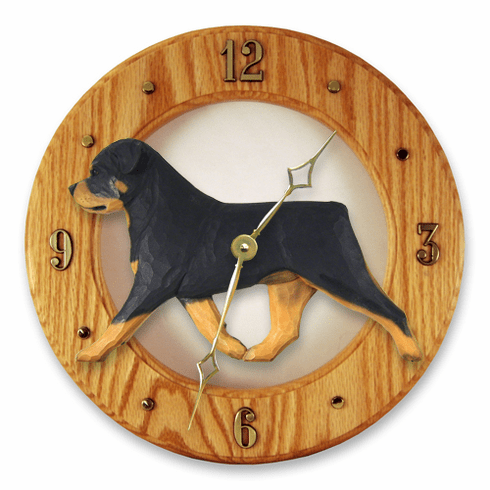 Rottweiler Solid Oak Clock