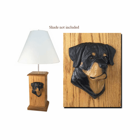 Rottweiler Wood Carved Table Lamp