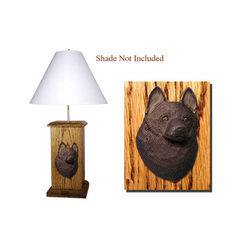 Schipperke Wood Carved Table Lamp