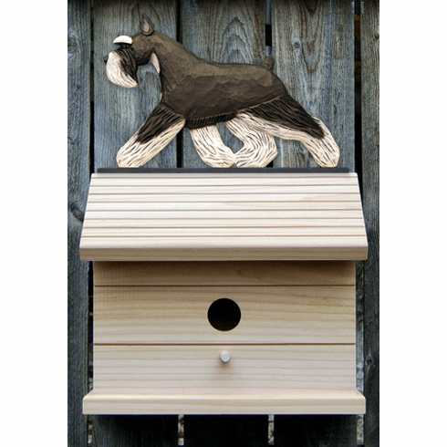 Schnauzer (minature) Bird House-Black/Silver