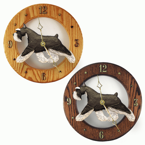 Schnauzer (minature) Wall Clock-Black-Silver