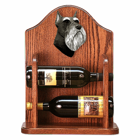 Schnauzer (minature) Wine Rack-Black/Silver
