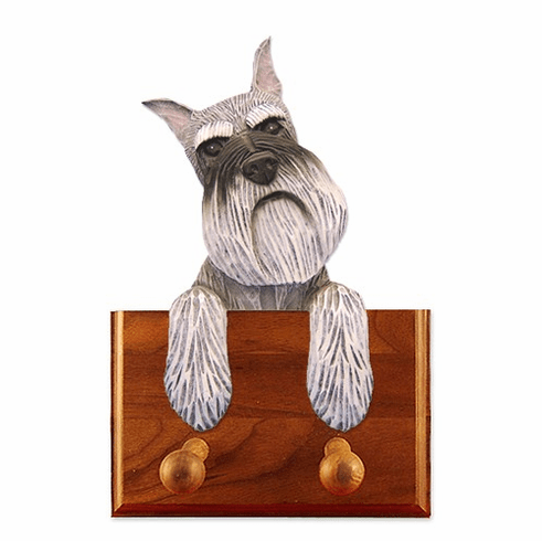 Schnauzer Miniature Walnut Dog Leash Holder