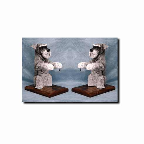 Schnauzer Natural Ears Bookends