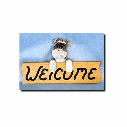 Schnauzer Natural Ears Welcome Sign