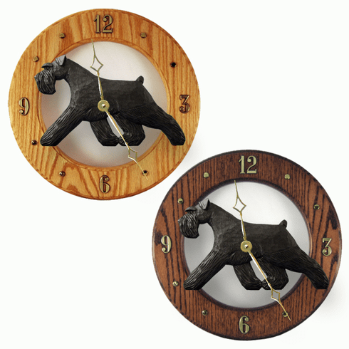 Schnauzer (natural) Wall Clock-Black
