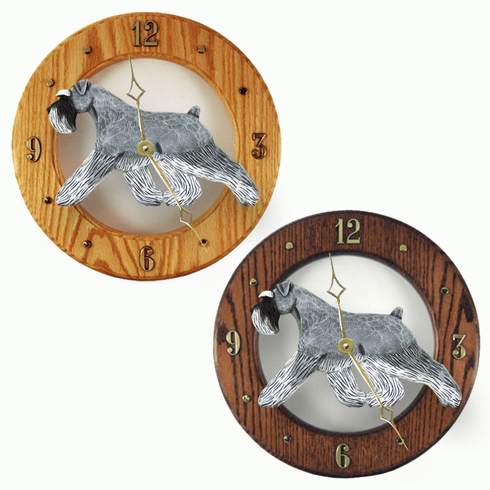 Schnauzer (natural) Wall Clock-Salt-Pepper