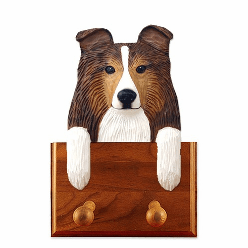 Shetland Sheepdog Sheltie Walnut Dog Leash Holder