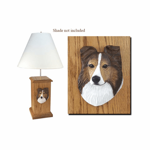 Shetland Sheepdog Sheltie Wood Carved Table Lamp