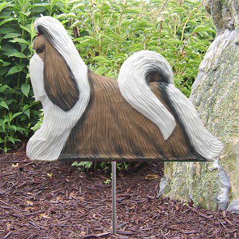 Shih Tzu Garden Stake-Brown-White
