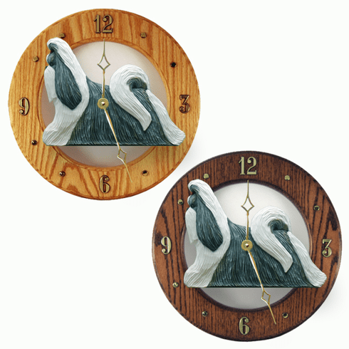 Shih Tzu Wall Clock-Silver-White