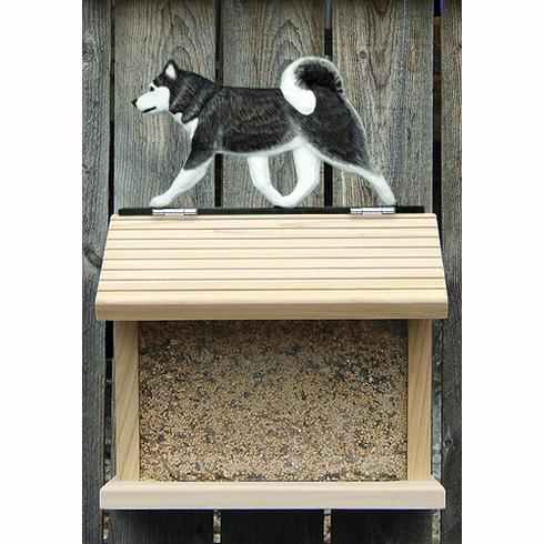 Siberian Husky Bird Feeder-Black/White