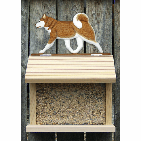 Siberian Husky Bird Feeder-Red/White