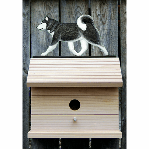 Siberian Husky Bird House-Black/White