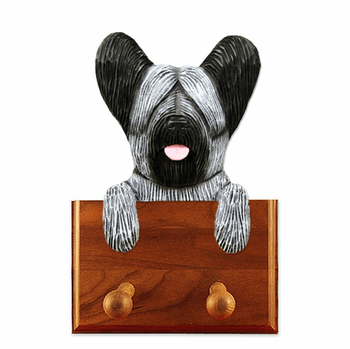 Skye Terrier Walnut Dog Leash Holder