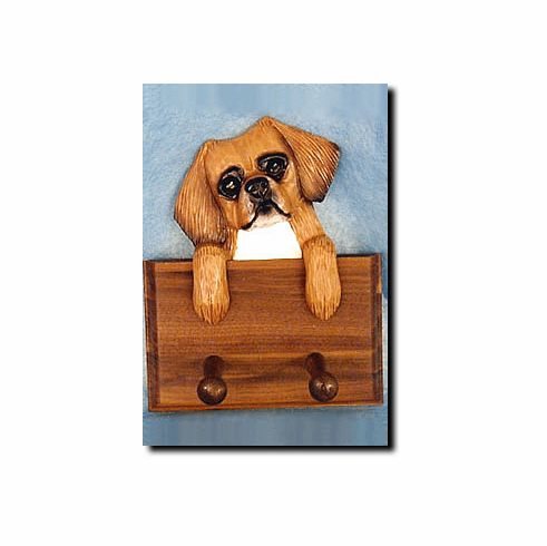 Tibetan Spaniel Walnut Dog Leash Holder