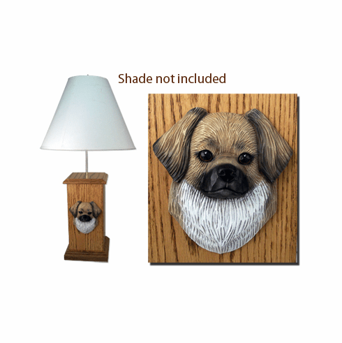 Tibetan Spaniel Wood Carved Table Lamp