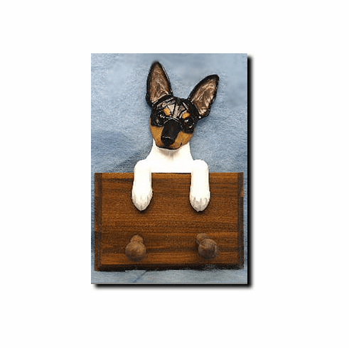 Toy Fox Terrier Walnut Dog Leash Holder