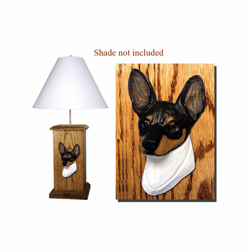 Toy Fox Terrier Wood Carved Table Lamp