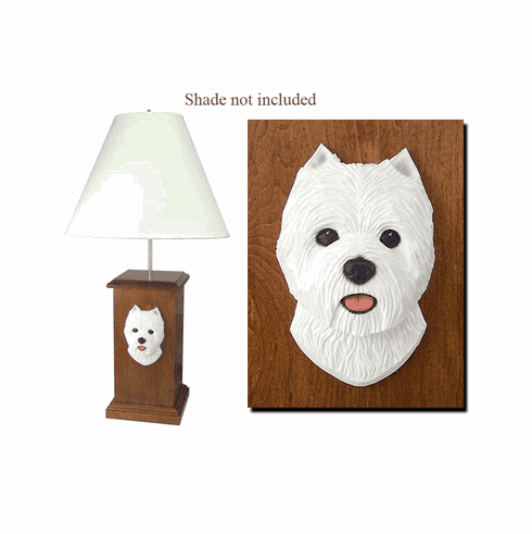 Westie Wood Carved Table Lamp