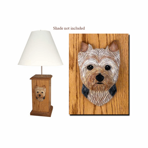 Yorkie Puppy Clip Wood Carved Table Lamp