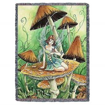 Among the Mushrooms Tapestry Blanket