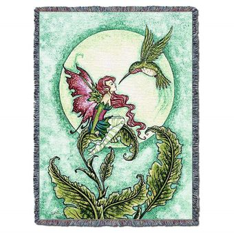 Fairy and Hummingbird Tapestry Blanket