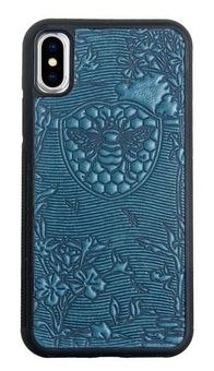 Blue Bee Garden Leather iPhone Case