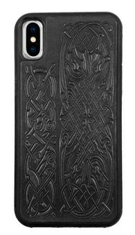 Black Celtic Hounds Leather iPhone Case