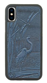Sky Blue Dragonfly Pond Leather iPhone Case