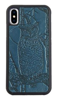 Blue Horned Owl Leather iPhone Case