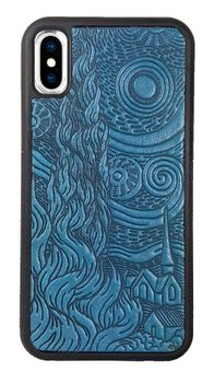 Blue Van Gogh's Sky Leather iPhone Case