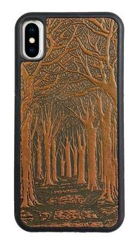 Brown Avenue of Trees Leather iPhone Case