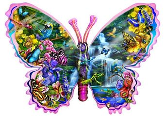 Butterfly Waterfall Shaped Jigsaw Puzzle (1000 Pieces)