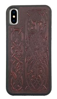 Wine Celtic Hounds Leather iPhone Case