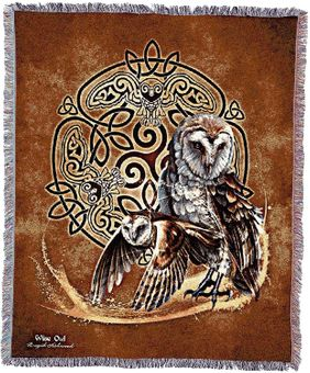 Celtic Owl Tapestry Blanket