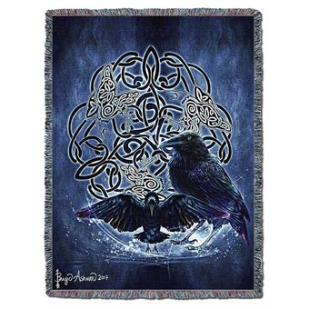 Celtic Raven Tapestry Blanket