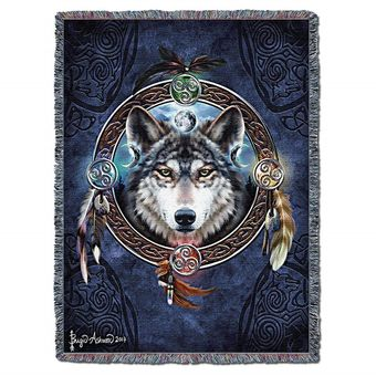 Celtic Wolf Guide Tapestry Blanket