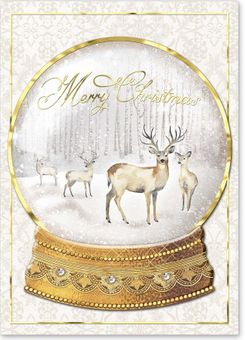 Deer Snowglobe Christmas Cards