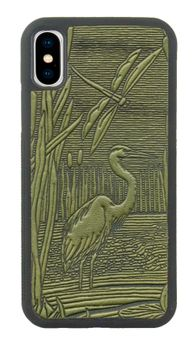 Fern Dragonfly Pond Leather iPhone Case