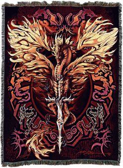 Flame Blade Dragon Tapestry Blanket