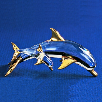 Glass Dolphin with Baby