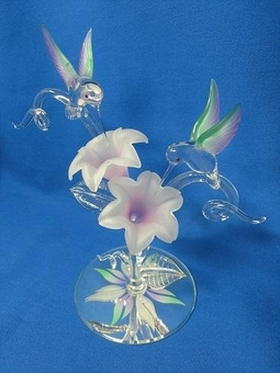 Glass Lavender Hummingbird Pair