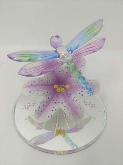 Glass Lavender Lily with Dragonfly